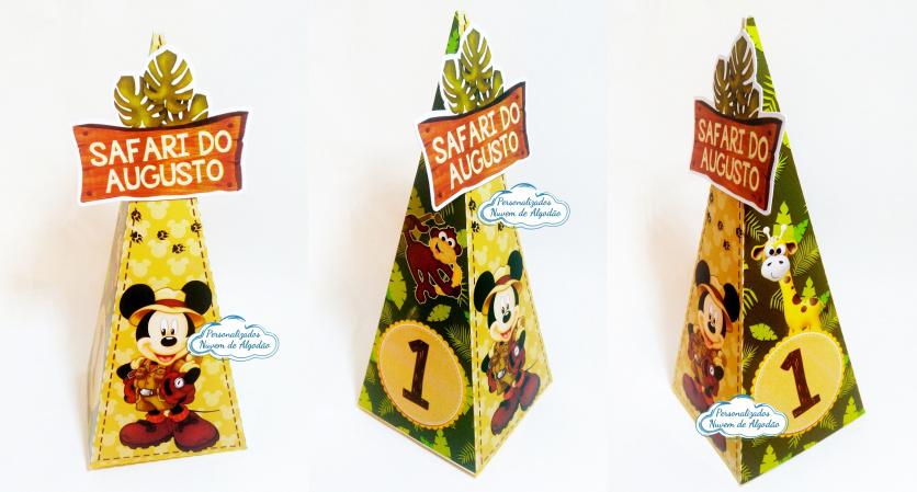 Caixa pirâmide Mickey Safari-Caixa pirâmide Mickey Safari com aplique. Fazemos em qualquer tema. Envie nome e idade para perso