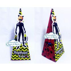 Caixa pirâmide Miraculous - Cat noir