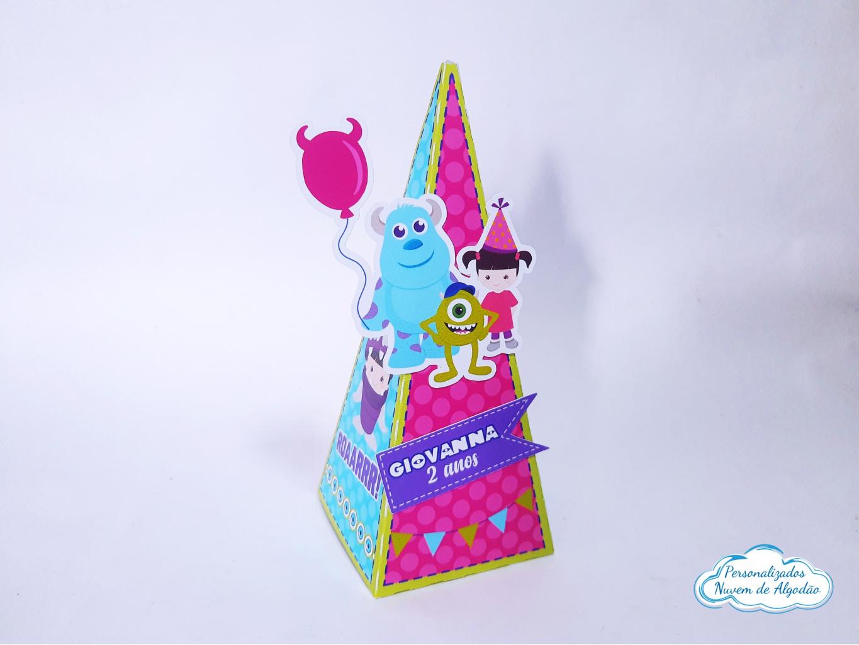 Nuvem de algodão personalizados - Caixa pirâmide Monstros SA