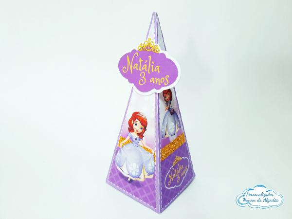 Caixa pirâmide Princesa Sofia-Caixa pirâmide Princesa Sofia com aplique. Fazemos em qualquer tema. Envie nome e idade para pers