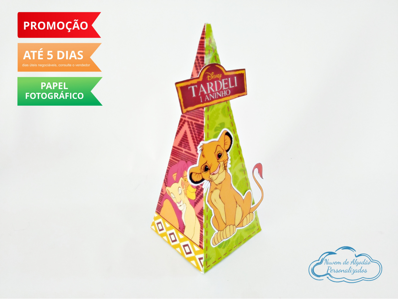 Nuvem de algodão personalizados - Caixa pirâmide Rei Leão