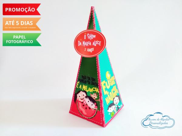 Caixa pirâmide Show da luna - melancia-Caixa pirâmide Show da luna com aplique. melancia Fazemos em qualquer tema. Envie nome e idade pa