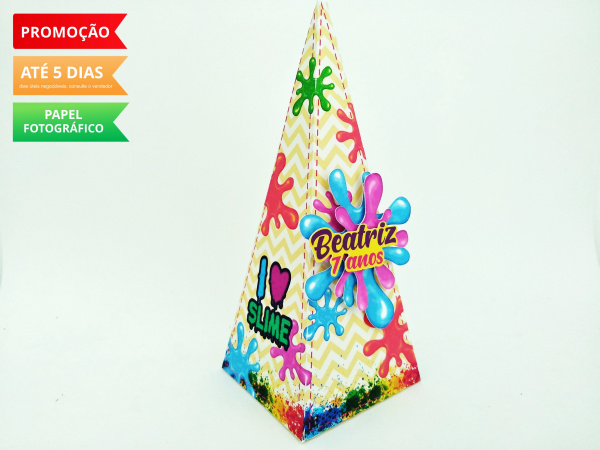 Caixa pirâmide Slime-Caixa pirâmide Slime com aplique. Fazemos em qualquer tema. Envie nome e idade para personalizaç