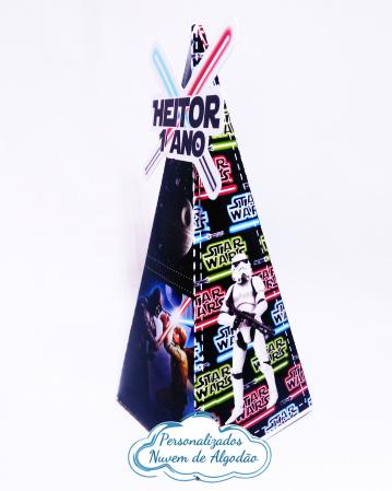 Caixa pirâmide Star Wars-Caixa pirâmide Star Wars com aplique. Fazemos em qualquer tema. Envie nome e idade para personali