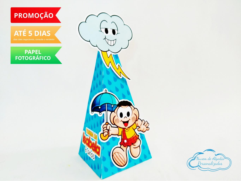 Nuvem de algodão personalizados - Caixa pirâmide Turma da Mônica