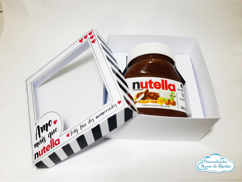 Nuvem de algodão personalizados - Caixa para Nutella com visor - dia dos namorados