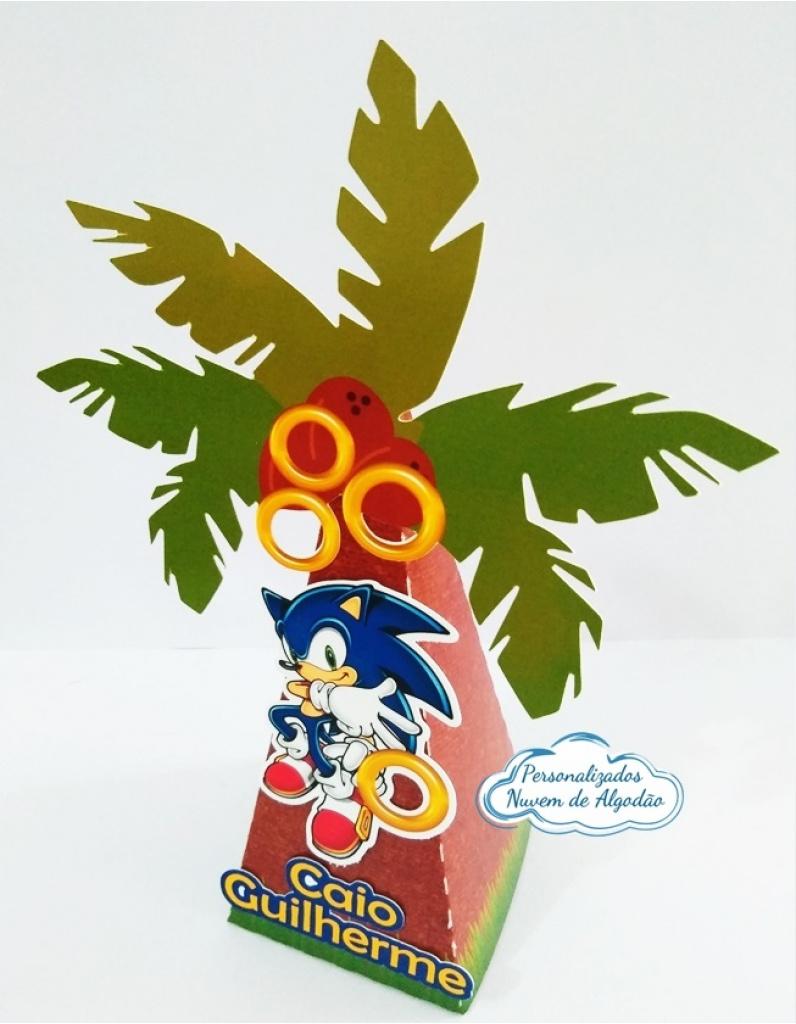 Nuvem de algodão personalizados - Caixa pirâmide coqueiro Sonic