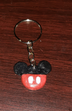 chaveiro Mickey-chaveiro de biscuit personalizado, tema Mickey