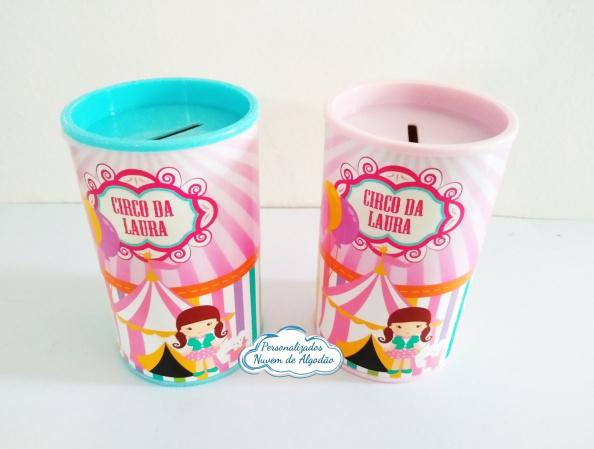 Cofrinho Circo Rosa-Cofrinho Circo Rosa  Cofrinho de papelão com adesivo glossy Impressão de alta qualidade.  - C
