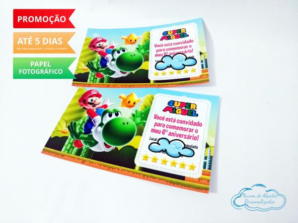Convite 10x15 simples Super Mario Bros-Convite 10x15 simples Super Mario Bros   Fazemos em qualquer tema. Envie os dados para personaliz