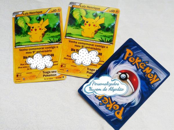 Convite card Pokemon-Convite card Pokemon Frente e verso.  Na hora do seu pedido informe os dados para personalizaçã