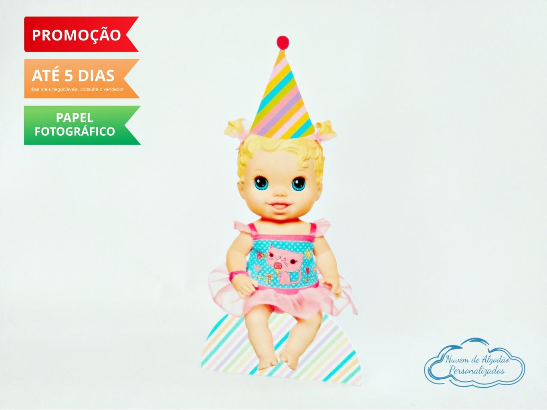 Nuvem de algodão personalizados - Display de mesa Baby Alive 27cm - Boneca loira