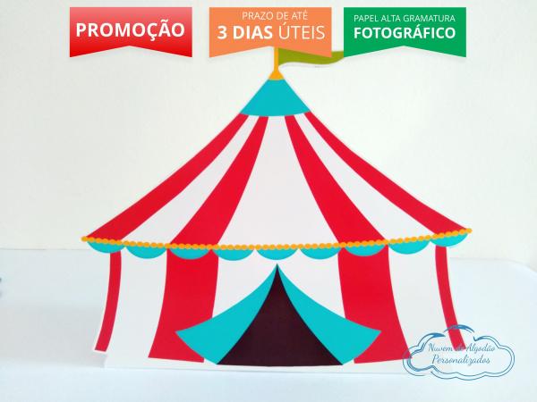 Display de mesa Circo 27cm - Tenda-Display de mesa Circo 27cm - Tenda Largura varia de acordo com a imagem.  - Possui pé de apoio.