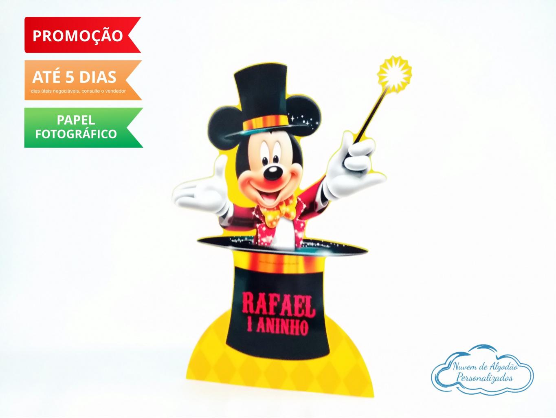 Nuvem de algodão personalizados - Display de mesa Circo do Mickey 27cm - Mágico