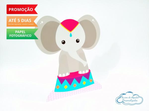 Display de mesa Circo rosa 27cm - Elefante-Display de mesa Circo rosa 27cm - Elefante Largura varia de acordo com a imagem.  - Possui pé de