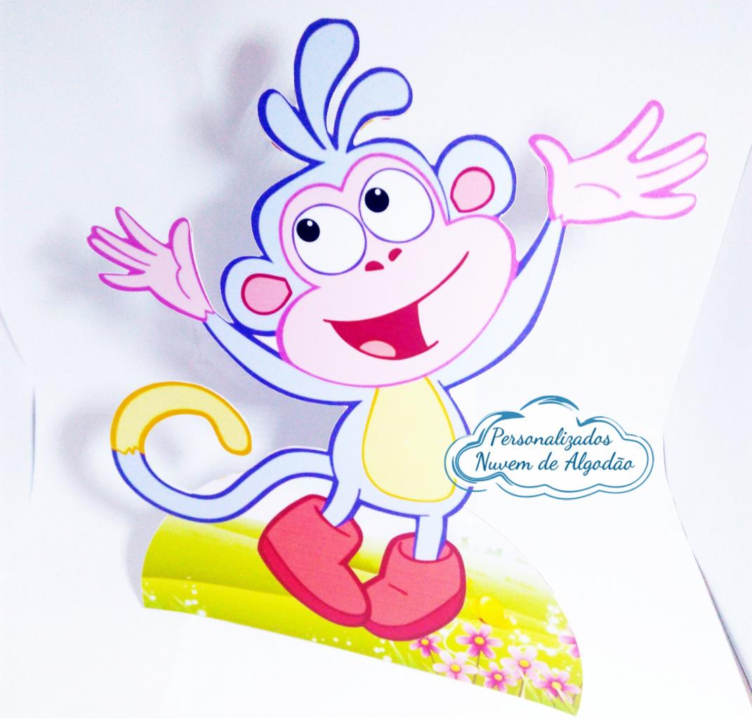 Nuvem de algodão personalizados - Display de mesa Dora aventureira 27cm - Macaco