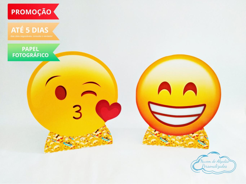 Nuvem de algodão personalizados - Display de mesa Emoji 27cm - beijinho e sorriso