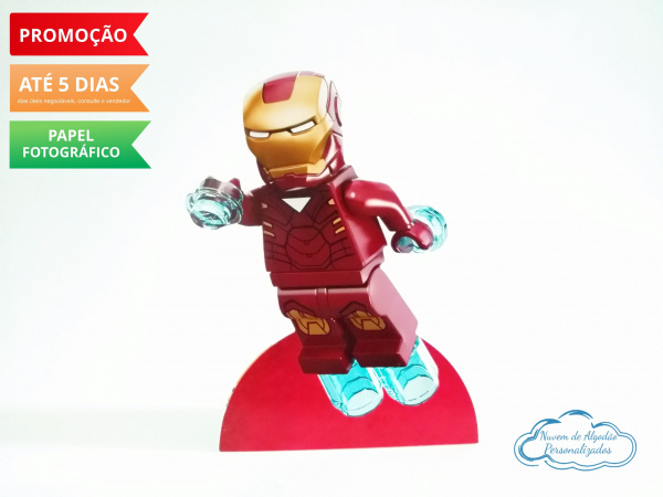 Display de mesa Lego 27cm - Homem de Ferro-Display de mesa Lego até 27cm - Homem de Ferro  Largura varia de acordo com a imagem.  - Possui