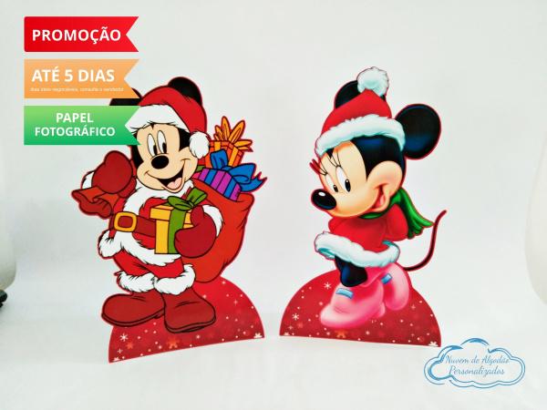 Display de mesa Mickey Natal 27cm - Mickey e Minnie-Display de mesa Mickey Natal até 27cm - Mickey e Minnie Largura varia de acordo com a imagem.  -