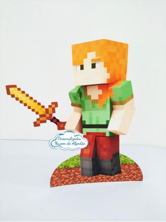 Display de mesa Minecraft 27cm - Alex-Display de mesa Minecraft  até 27cm - Alex Largura varia de acordo com a imagem.  - Possui pé d