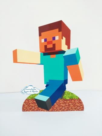 Display de mesa Minecraft 27cm - Steve-Display de mesa Minecraft  até 27cm - Steve Largura varia de acordo com a imagem.  - Possui pé