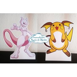 Display de mesa Pokemon 27cm - Mewtwo e Raichu