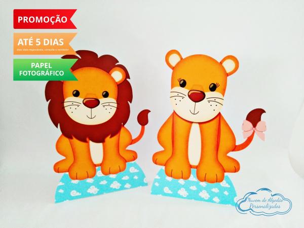 Display de mesa Arca de noé 27cm - Leão e leoa-Display de mesa  Arca de noé - Leão e leoa até 27cm Largura varia de acordo com a imagem.  - P