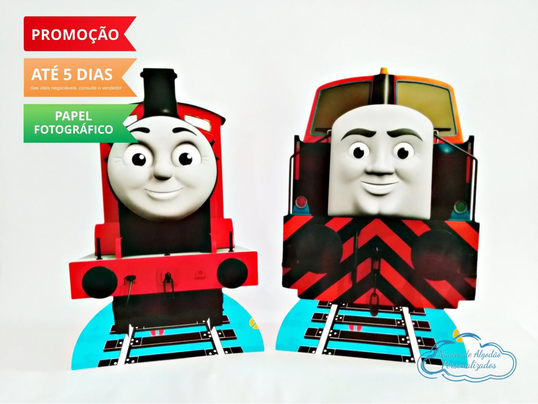 Nuvem de algodão personalizados - Display de mesa Thomas e seus amigos 27cm - James e Den