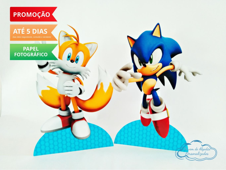 Nuvem de algodão personalizados - Display de mesa SONIC 19cm - Sonic e Tails
