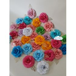 Flor de papel para topo de bolo - Cores