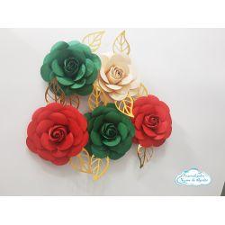 Flor de papel para topo de bolo - Natal