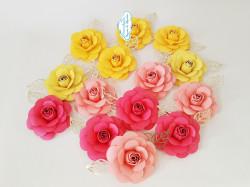 Flor de papel para topo de bolo - Rosa e amarelo