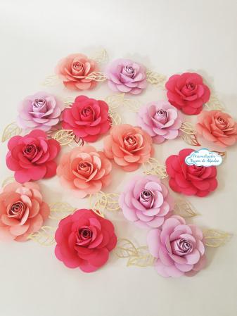 Flor de papel para topo de bolo - Tons de rosa-Flor de papel para topo de bolo - Tons de rosa  Fazemos em qualquer cor.  Na hora do seu pedido