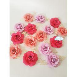 Flor de papel para topo de bolo - Tons de rosa