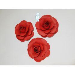 Flor de papel para topo de bolo - Vermelha