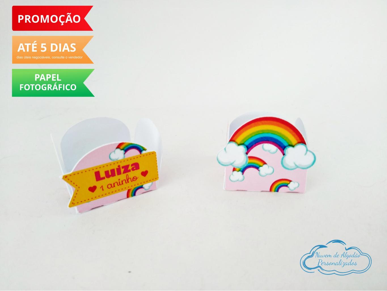Nuvem de algodão personalizados - Forminha Arco Íris