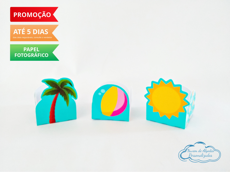 Nuvem de algodão personalizados - Forminha Pool Party Bola, Sol e Coqueiro