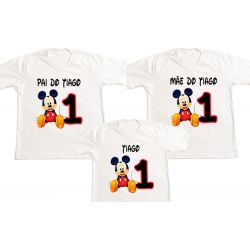 Kit 3 Camisetas Mickey Personalizada