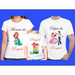 Kit 3 Camisetas Princesas  Personalizada