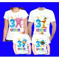 Kit 4 Camisetas Pocoyo  Personalizada