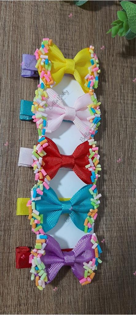 Bella Baby Laços de fita - kit 5 hair clips confete