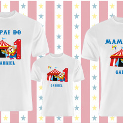 Kit Camiseta Circo família Personalizada 3 unidade