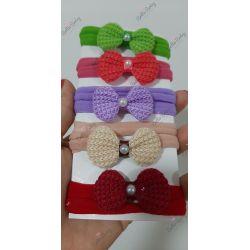 kit de 5 faixinhas lacinho de crochê com pérola