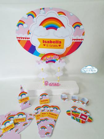 Kit só um bolinho Arco íris - Tamanho P-Kit só um bolinho Arco íris - Tamanho P  - 1 topo de bolo - 1 elipse 41x29cm - 20 forminhas -