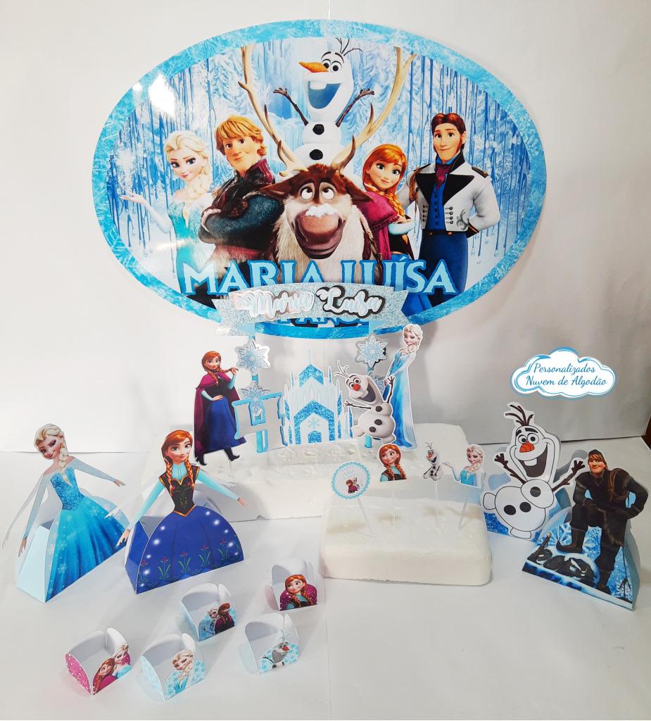 Nuvem de algodão personalizados - Kit só um bolinho Frozen - Tamanho P