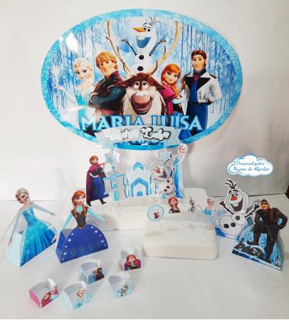 Kit só um bolinho Frozen - Tamanho P-Kit só um bolinho Frozen - Tamanho P   - 1 topo de bolo - Elipse 41x29 - 10 toppers de docinho