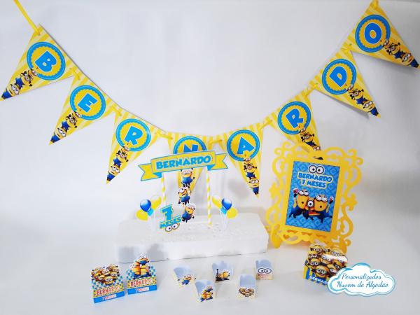 Kit só um bolinho Minions - Tamanho M-Kit só um bolinho Minions - Tamanho M  - 1 topo de bolo - bandeirola de até 8 letras - 15 form