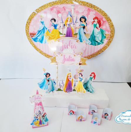 Kit só um bolinho Princesas - P-Kit só um bolinho - P - Princesas  - 1 topo de bolo - 1 Elipse 41x29 - 20 forminhas - 8 caixas