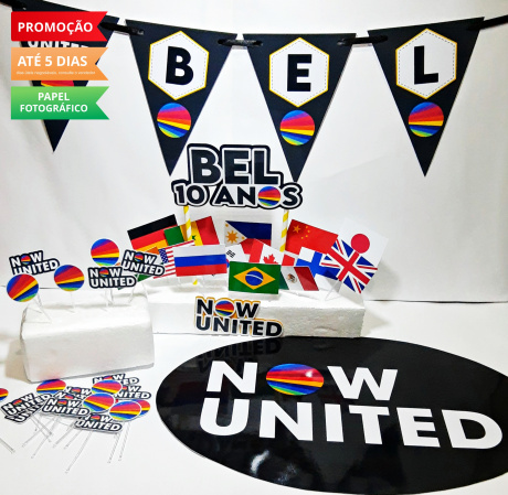 Kit só um bolinho Now United - Tamanho P-Kit só um bolinho - Tamanho P - Now United  - 1 topo de bolo - 1 Elipse 41x29cm - 1 bandeirola