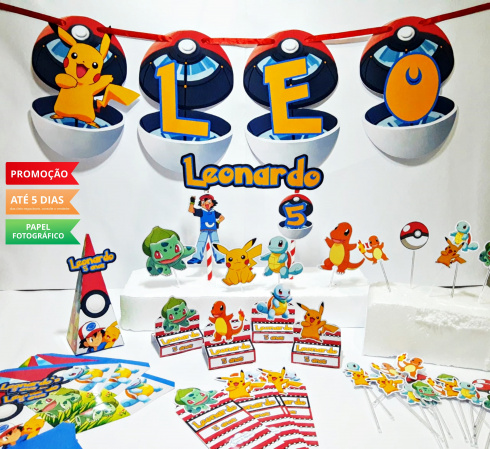 Kit só um bolinho Pokemon - Tamanho P-Kit só um bolinho - Tamanho P - Pokemon  - 1 topo de bolo - 1 bandeirola de até 4 letras  - 10